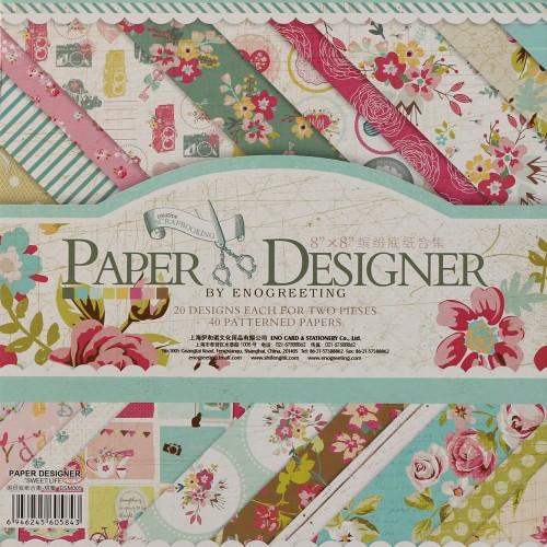 8x8 EnoGreeting Scrapbook paper pack - Sweet Life (Set of 40 sheets)