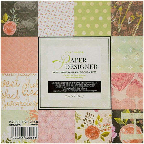 EnoGreeting Scrapbook paper pack - Floral Pack (Set of 24 sheets and 2 die cuts)
