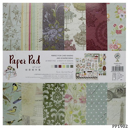 12x12 EnoGreeting Scrapbook paper pack - PP1902 (24 sheets)