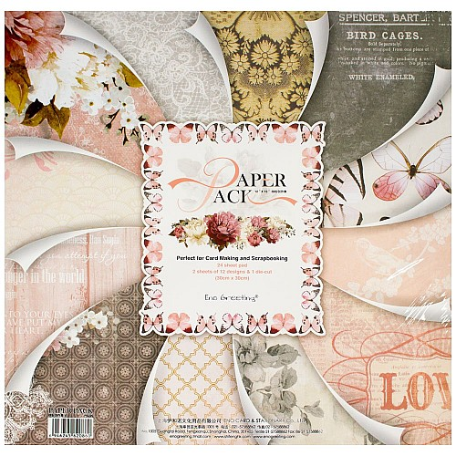 EnoGreeting Scrapbook paper pack - Love (PS020) (Set of 24 sheets and 1 die cut sheets)