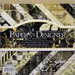 7x7 EnoGreeting Scrapbook paper pack - Retro - Brown (Set of 36 sheets and 4 die cuts)