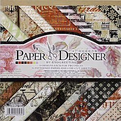 7x7 EnoGreeting Scrapbook paper pack - Retro - Red (Set of 36 sheets and 4 die cuts)