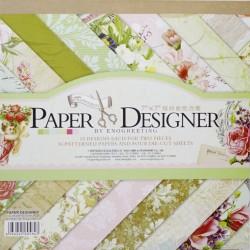 7x7 EnoGreeting Scrapbook paper pack - Bloom Flower (Set of 36 sheets and 4 die cuts)