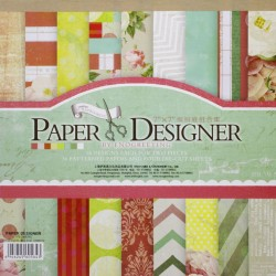 7x7 EnoGreeting Scrapbook paper pack - Flowers (Set of 36 sheets and 4 die cuts)