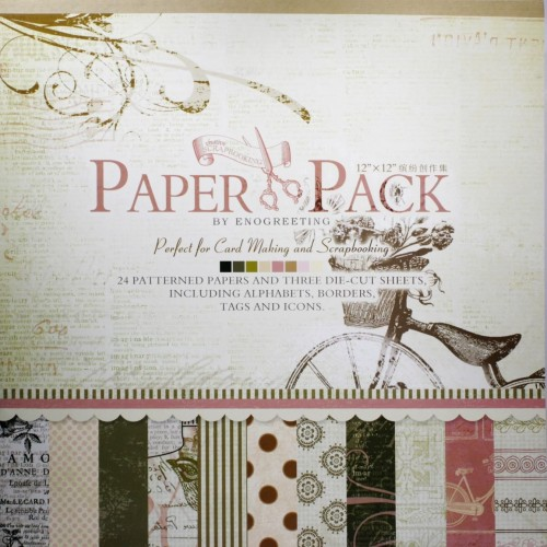 12x12 EnoGreeting Scrapbook paper pack - Romantic (PS009) (Set of 24 sheets and 3 die cut sheets)