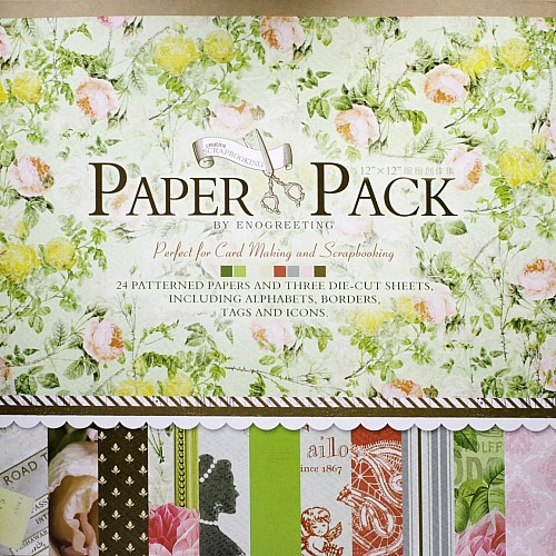 12x12 EnoGreeting Scrapbook paper pack - Romantic (Set of 24 sheets and 3 die cut sheets)
