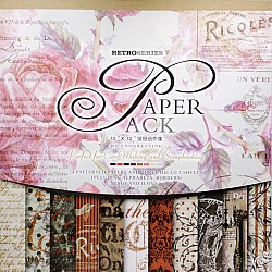 12x12 EnoGreeting Scrapbook paper pack - Retro Series (Red) (Set of 24 sheets and 3 die cut sheets)