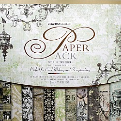12x12 EnoGreeting Scrapbook paper pack - Retro Series (Brown) (Set of 24 sheets and 3 die cut sheets)