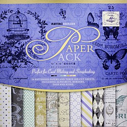 12x12 EnoGreeting Scrapbook paper pack - Retor Series (Set of 24 sheets and 3 die cut sheets)