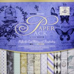 12x12 EnoGreeting Scrapbook paper pack - Retor Series (Set of 24 sheets and 3 die cut sheets)