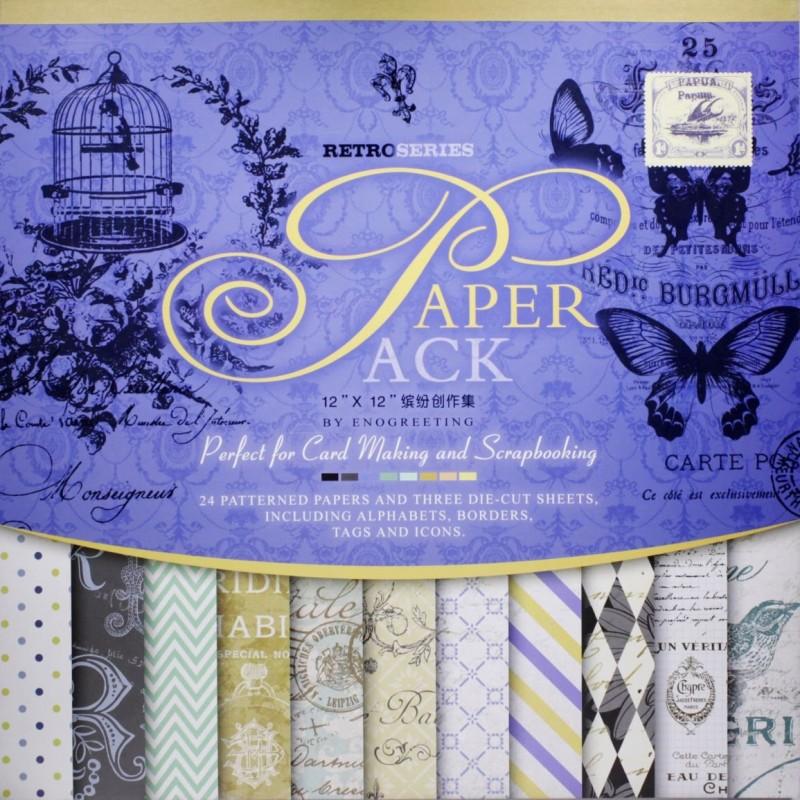 Buy 12x12 Enogreeting Scrapbook Paper Pack Retor Series