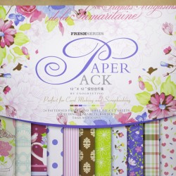 12x12 EnoGreeting Scrapbook paper pack - Fresh Series (Set of 24 sheets and 3 die cut sheets)