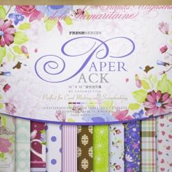 12x12 EnoGreeting Scrapbook paper pack - Fresh Series (Set of 24 sheets and 3 die cut sheets)