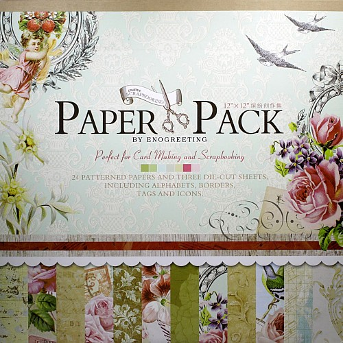 12x12 EnoGreeting Scrapbook paper pack - Blossoms (CAS-9053) (Set of 24 sheets and 3 die cut sheets)