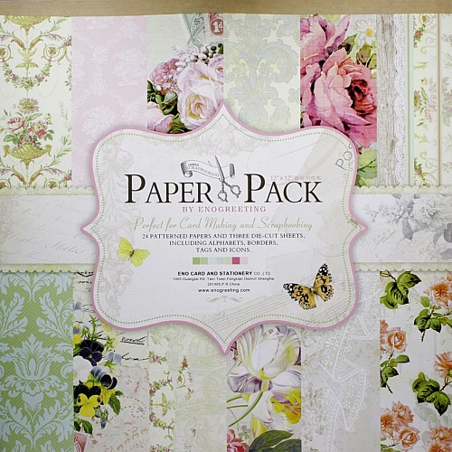 12x12 EnoGreeting Scrapbook paper pack - Floral (Set of 24 sheets and 3 die cut sheets) PS017