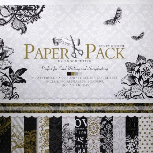 12x12 EnoGreeting Scrapbook paper pack -ROMANTIC (Set of 24 sheets and 3 die cut sheets)