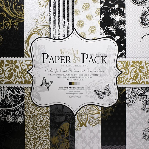 12x12 EnoGreeting Scrapbook paper pack - Floral (Set of 24 sheets and 3 die cut sheets)