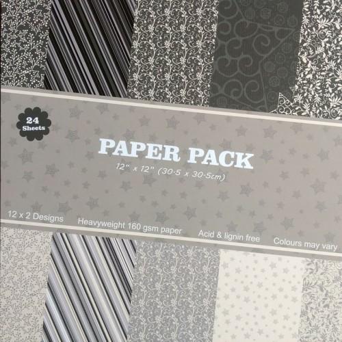 """Scrapbook Paper Pack - Grey Linen (12""""x12"""")"""