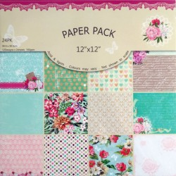 "Scrapbook Paper Pack - Exotic Flowers (12""x12"")"