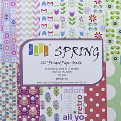 6 by 6 Paper Pack - Spring (Set of 36 sheets)