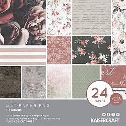 KaiserCraft paper pad - Rosabella (6.5 by 6.5 inch) - 36 sheets plus 4 die cut sheets