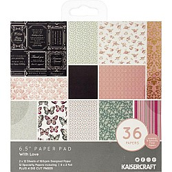 KaiserCraft paper pad - With Love (6.5 by 6.5 inch) - 36 sheets plus 4 die cut sheets