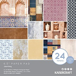 KaiserCraft paper pad - Journey (6.5 by 6.5 inch) - 36 sheets plus 4 die cut sheets