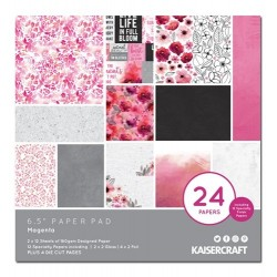 KaiserCraft paper pad - Magenta (6.5 by 6.5 inch) - 36 sheets plus 4 die cut sheets