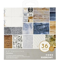 KaiserCraft paper pad - Workshop (6.5 by 6.5 inch) - 36 sheets plus 4 die cut sheets