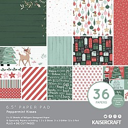 KaiserCraft paper pad - Peppermint Kisses (Christmas) (6.5 by 6.5 inch) - 36 sheets plus 4 die cut sheets