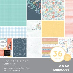 KaiserCraft paper pad - Crafternoon (6.5 by 6.5 inch) - 36 sheets plus 4 die cut sheets