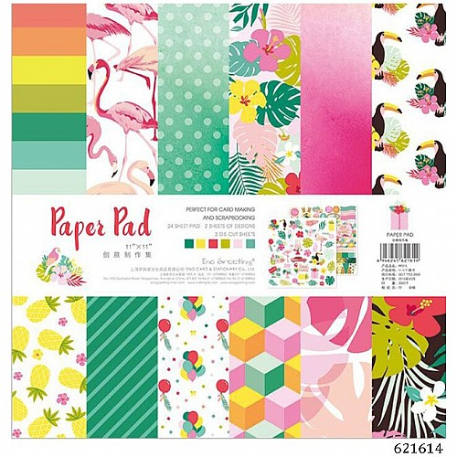 10x10 EnoGreeting Scrapbook paper pack - Colorful (PP015) (Set of 24 sheets and 2 die cut sheets)