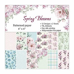 12x12 Scrapbook paper pack - Spring Blossoms (Set of 24 sheets)