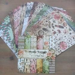12x12 Scrapbook paper pack - Mystic Voyage (Set of 24 sheets)