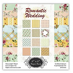 Romantic Wedding Scrapbook Paper (Pack of 24 sheets) - 12 by 12 inch