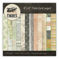 Garden of Chores Scrapbook Paper (Pack of 24 sheets) - 6 by 6 inch