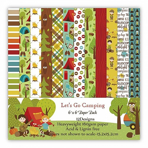 Lets go Camping Scrapbook Paper (Pack of 24 sheets) - 6 by 6 inch