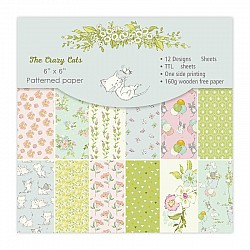 The Crazy Cats Scrapbook Paper (Pack of 24 sheets) - 6 by 6 inch