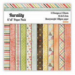 Rurality Scrapbook Paper (Pack of 24 sheets) - 6 by 6 inch