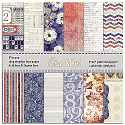 Blue and Red (Pack of 24 sheets) - 6 by 6 inch