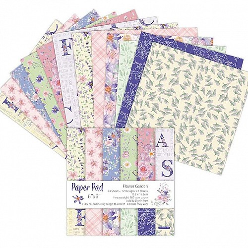 Flower Garden (Pack of 24 sheets) - 6 by 6 inch