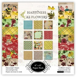 Happiness as Flowers (Pack of 24 sheets) - 6 by 6 inch