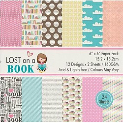 Lost on a Book (Pack of 24 sheets) - 6 by 6 inch