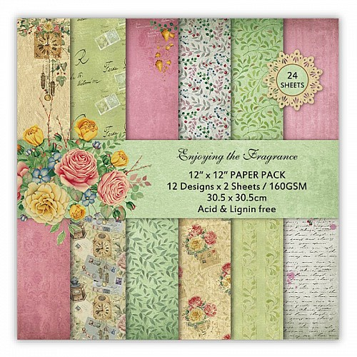 Enjoying the Fragrance Scrapbook Paper (Pack of 24 sheets) - 12 by 12 inch