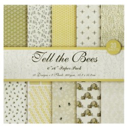Fell the Bees - B Scrapbook Paper (Pack of 20 sheets) - 6 by 6 inch