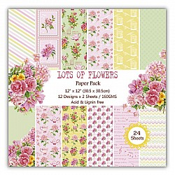 Lots of Flowers Scrapbook Paper (Pack of 24 sheets) - 12 by 12 inch