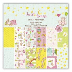 Sweet Dreams Scrapbook Paper (Pack of 24 sheets) - 12 by 12 inch