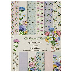 A5 Scrapbook paper pack - The Fragrance of Flowers (Set of 24 sheets)