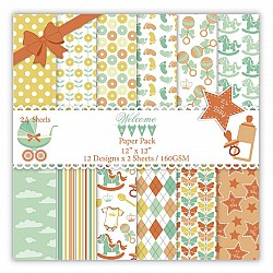 Welcome Baby Scrapbook Paper (Pack of 24 sheets) - 12 by 12 inch