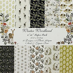 Winter Woodland - B Scrapbook Paper (Pack of 20 sheets) - 6 by 6 inch